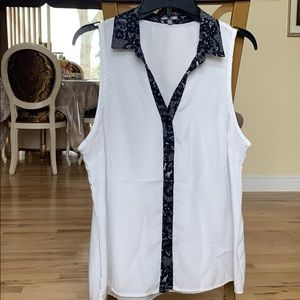 White Button Up with Black Designed Trim!